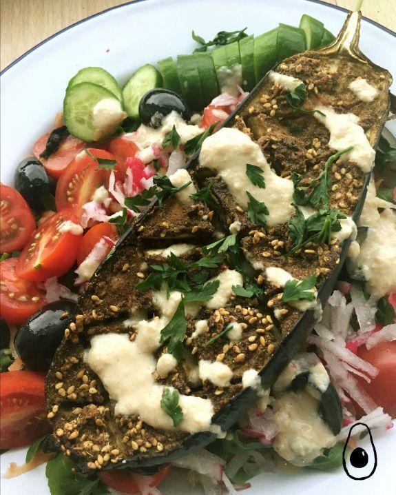 roasted-aubergine-salad-tahini-close-shot